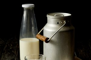 milk in bottle, glass and aluminium