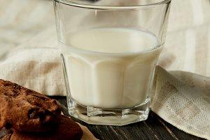 closeup view of milk glass, chocolat