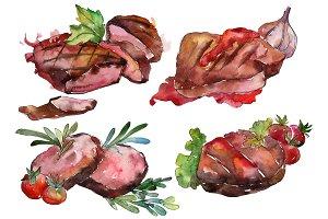 Meat steaks PNG watercolor set
