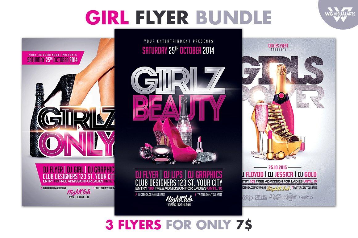 girl woman flyer bundle flyer templates creative market. Black Bedroom Furniture Sets. Home Design Ideas