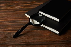 close-up view of magnifying glass an