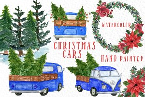 Watercolor Christmas Trucks clipart