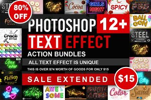 Text Effect Photoshop Action Bundle