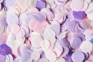 close up of violet confetti pieces o