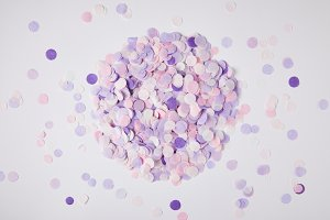 top view of pile of violet confetti