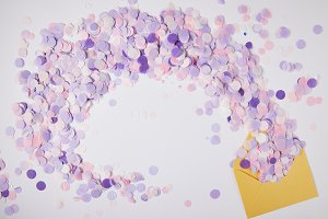 top view of violet confetti pieces a