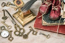 Antique photo albums and tools
