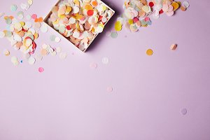 top view of confetti pieces in paper
