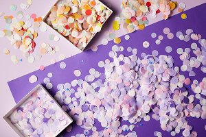elevated view of confetti pieces in