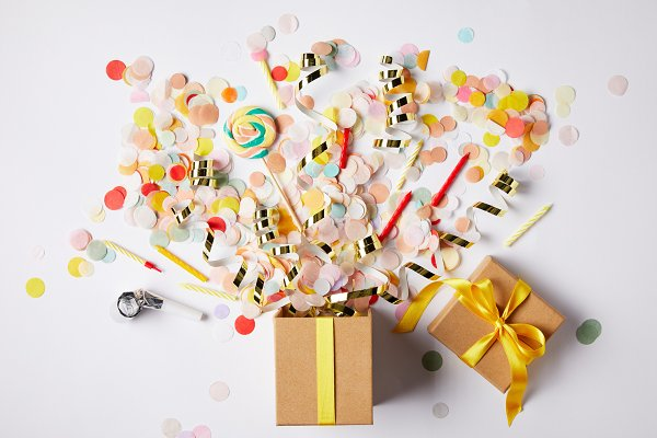 Holiday Stock Photos: LightField Studios - top view of gift box and scattered c
