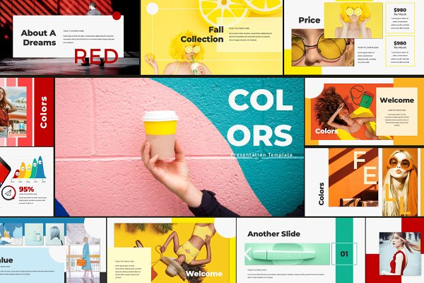 Presentation Templates: Eight Graph - COLORS - Powerpoint