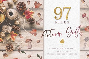 Gifts of autumn PNG watercolor set