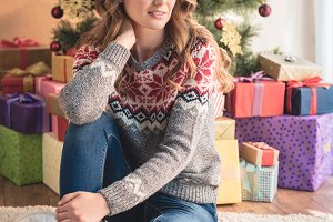 attractive woman in winter sweater s