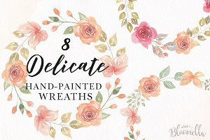 Soft Roses Watercolor Wreath Set
