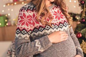 attractive pregnant woman in santa h