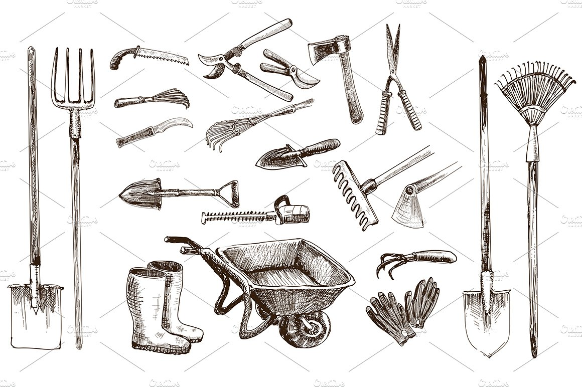 Line Drawing Tool : Garden tools vector objects illustrations creative