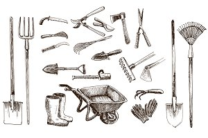 Garden tools. 21 vector objects