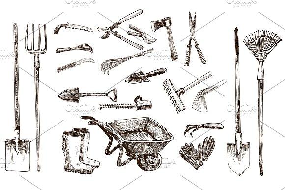 Garden tools. 21 vector objects - Illustrations