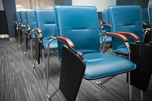 Conference Meeting Room. Row of Blue