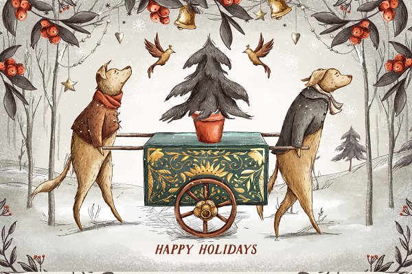 Illustrations and Illustration Products: Yeticrab - Vintage Holidays • Christmas Dogs