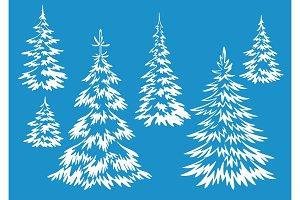 Christmas Fir Trees Contours
