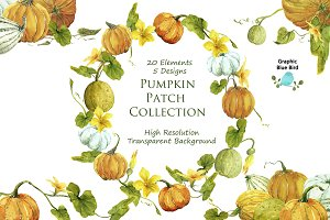 Pumpkin Patch Watercolor Clip Art