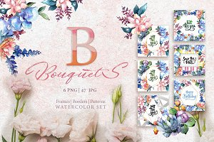 Bouquets flowers set PNG watercolor
