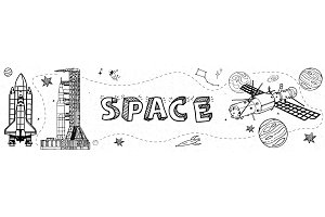 Space Elements Vector Banner