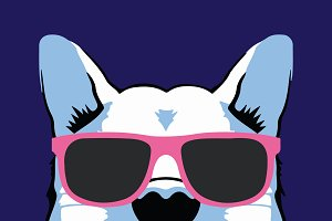 Dog with Pink Glasses Vector