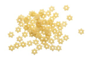 pasta star shape isolated on white