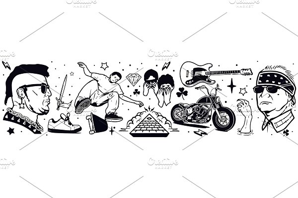 Punk Rock Tattoo and Stickers Vector