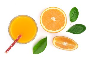 orange juice glass with slices of