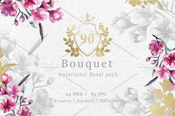 Bouquet of pink flower png pack illustrations creative market bouquet of pink flower png pack illustrations mightylinksfo