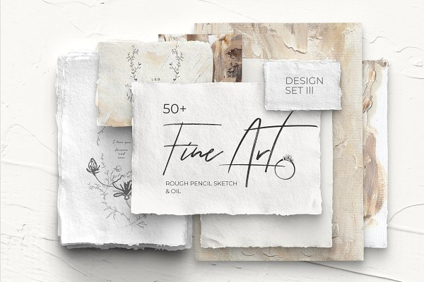 Illustrations and Illustration Products: Lana Elanor - FINE ART lll modern design set (oil)
