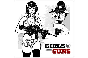 Beautiful pinup girls holding a gun