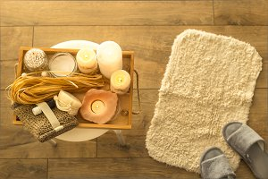 Eco spa accessories in home bathroom