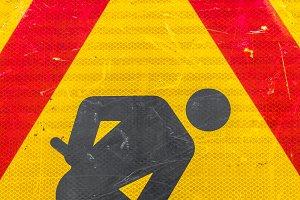 Workman road sign