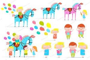 Kids Horse Balloons Holiday Set