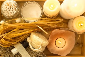 Eco spa accessories on wooden tray