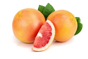 grapefruit and slices with leaves