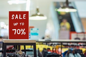 sale 70 off mock up advertise displa