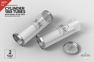 180mm Cylinder Tube Packaging Mockup