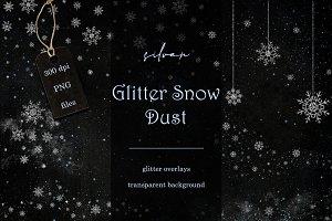 Silver glitter snow dust overlays