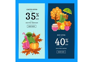 Vector cartoon autumn elements and