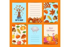 Vector cartoon autumn leaves notes