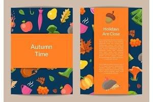 Vector cartoon autumn leaves card or