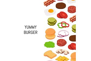 Vector isometric burger with color