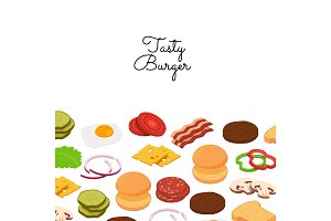 Vector burger ingredients background