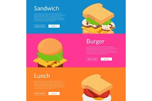 Vector isometric burger with