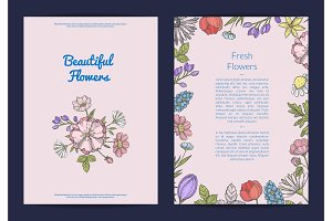 Vector hand drawn flowers card or